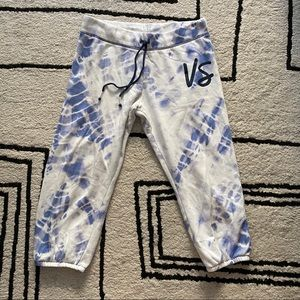VS Blue and White Tie Dye Crop Baggy Sweatpants